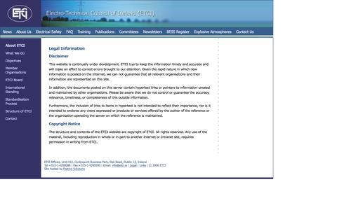 Screenshot of Terms Page etci.ie - Electrical Technical Website - Electricity Regulation, Electrical Safety, European Directives - captured Nov. 4, 2016