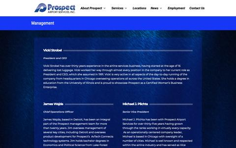 Screenshot of Team Page prospectair.com - Management | Prospect Airport Services - captured Sept. 30, 2018