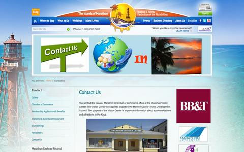 Screenshot of Contact Page floridakeysmarathon.com - Welcome to the Greater Marathon Chamber of Commerce - captured Oct. 3, 2014