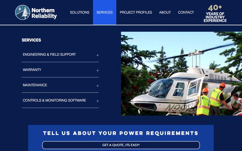 Screenshot of Services Page northernreliability.com - POWER AND ENERGY STORAGE SERVICES - captured Sept. 20, 2018