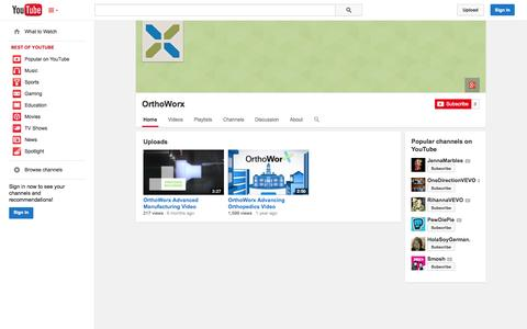 Screenshot of YouTube Page youtube.com - OrthoWorx  - YouTube - captured Oct. 26, 2014