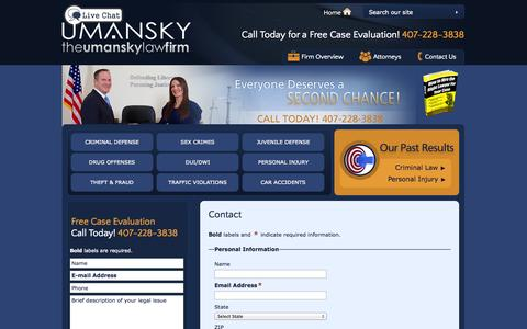 Screenshot of Contact Page thelawman.net - Contact | The Umansky Law Firm | Orlando - captured Oct. 6, 2014