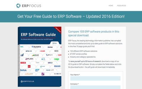 Screenshot of Landing Page erpfocus.com - ERP Software Guide - Updated 2016 Edition - captured Nov. 17, 2016