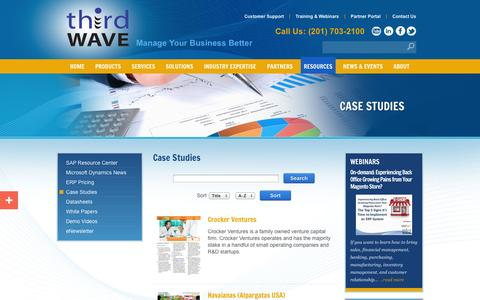 Screenshot of Case Studies Page twbs.com - SAP Business One case studies - captured Oct. 10, 2014