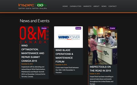 Screenshot of Press Page inspectools.com - InspecTools News & Events - captured Jan. 8, 2016