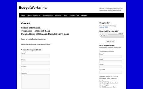 Screenshot of Contact Page budgetworks.net - Contact | BudgetWorks Inc. - captured Nov. 3, 2014