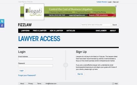 Screenshot of Login Page fizzlaw.com - Login/Signup | FizzLaw - captured Sept. 30, 2014