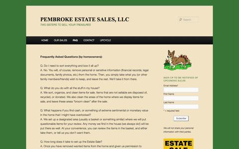 Screenshot of FAQ Page pembrokesales.com - FAQ | PEMBROKE ESTATE SALES, LLC - captured Oct. 2, 2014