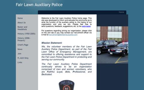 Screenshot of Home Page fairlawnauxpolice.com - Fair Lawn Auxiliary Police - Home - captured Oct. 5, 2014