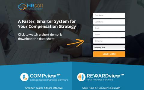 Screenshot of Landing Page hrsoft.com - Total Rewards Software by HRsoft - captured Oct. 3, 2018