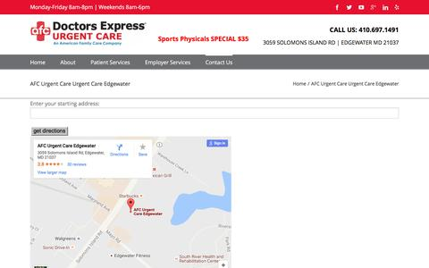 Screenshot of Maps & Directions Page doctorsexpressedgewater.com - Directions to Urgent Care in Edgewater & Annapolis MD   AFC Urgent Care Edgewater - captured Aug. 2, 2016