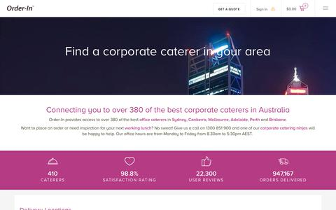 Screenshot of Locations Page orderin.com.au - Corporate Catering Delivery Locations | Order-In - captured Oct. 21, 2017