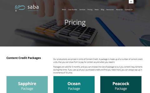 Screenshot of Pricing Page sabaconsultants.com - Pricing - Saba Consultants - captured July 26, 2018