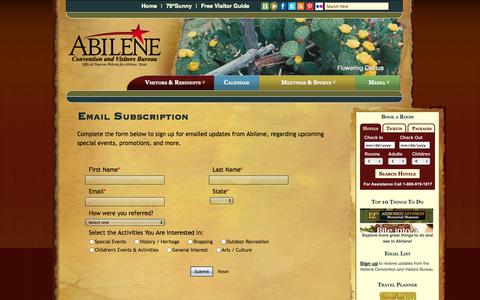 Screenshot of Signup Page abilenevisitors.com - Abilene Email Subscription - captured Oct. 4, 2014