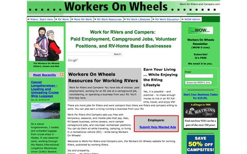 Screenshot of Home Page work-for-rvers-and-campers.com - Work for RVers and Campers: Employment, Campground Jobs, Volunteer, RV Business - captured Nov. 25, 2016