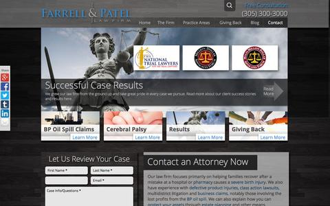 Screenshot of Contact Page farrellpatel.com - Contact an Attorney at Our Offices in Miami, Tampa & Houston - captured Feb. 9, 2016
