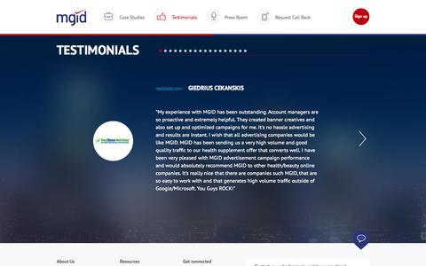 Screenshot of Testimonials Page mgid.com - MGID: Native Advertising Marketplace - captured Oct. 2, 2015