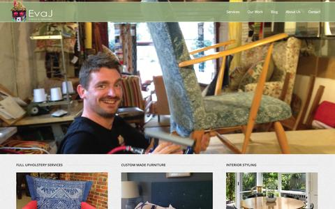 Screenshot of Home Page evaj.com.au - Eva J: Interiors & Upholstery Services Melbourne - captured Oct. 3, 2014