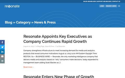 Screenshot of Press Page resonate.com - Category News & Press - Resonate - captured Jan. 14, 2019