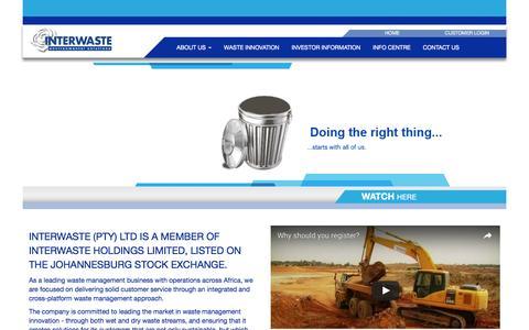 Screenshot of Home Page interwaste.co.za - Waste Management Companies | Interwaste Holdings Ltd - captured Nov. 26, 2016