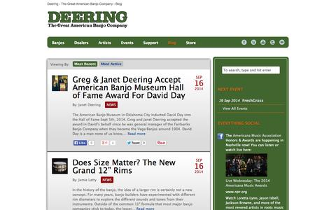 Screenshot of Blog deeringbanjos.com - Deering Banjo Company Blog - captured Sept. 19, 2014