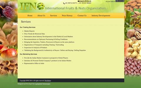 Screenshot of Services Page ifno.in - Services - captured Oct. 1, 2014