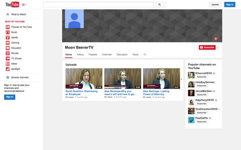 Screenshot of YouTube Page youtube.com - Moon BeeverTV  - YouTube - captured Nov. 5, 2014