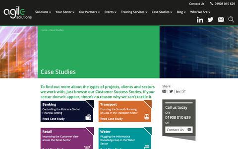 Screenshot of Case Studies Page agilesolutions.co.uk - Case Studies - Agile Solutions Agile Solutions - captured Nov. 12, 2018