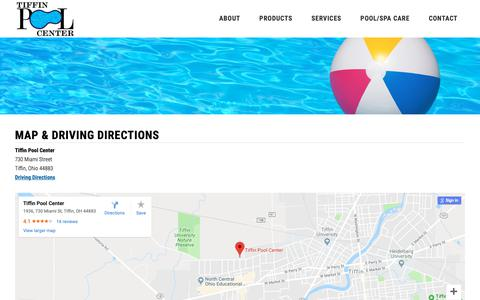 Screenshot of Maps & Directions Page tiffinpoolcenter.com - Tiffin Pool Center - Pool and Spa Care Products - captured Oct. 22, 2018