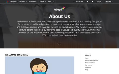 Screenshot of About Page mimeo.com - Learn About Us - Mimeo.com - captured Oct. 21, 2015