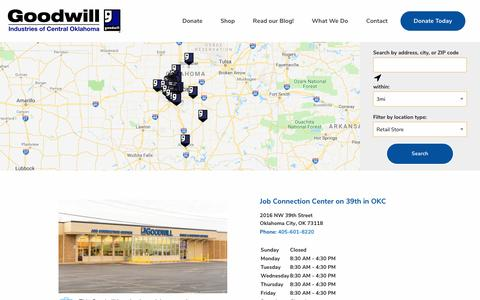 Screenshot of Locations Page okgoodwill.org - Goodwill Stores and Donation Centers Near Me | Find Goodwill in Oklahoma - captured Sept. 29, 2018