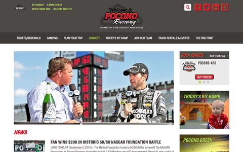 Screenshot of Press Page poconoraceway.com - News | Pocono Raceway, Pocono 400, Pennsylvania 400 - captured Sept. 25, 2014