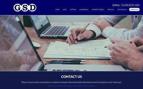 Screenshot of Contact Page gsdestates.com - GSD Estate Agents | Get to Know Our Team of Professionals - captured Sept. 26, 2018