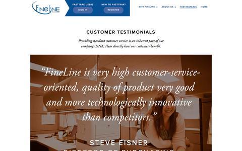 Screenshot of Testimonials Page finelinetech.com - Testimonials | Fineline Technologies Inc - captured Oct. 6, 2014