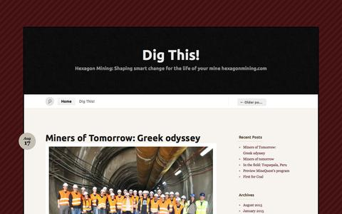 Screenshot of Home Page digminesight.com - Dig This! « Hexagon Mining: Shaping smart change for the life of your mine   hexagonmining.com - captured Sept. 5, 2015