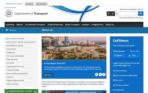 Screenshot of About Page transport.wa.gov.au - About us - captured Oct. 8, 2018