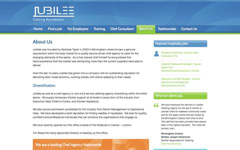 Screenshot of About Page jubilee4staff.com - About us : Jubilee chef agency - captured Oct. 6, 2014