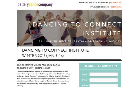 Screenshot of Landing Page batterydance.org - Dancing to Connect Institute - Winter Session - captured Oct. 27, 2014