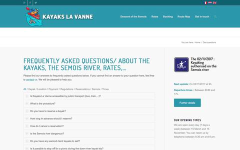 Screenshot of FAQ Page kayakslavanne.be - Frequently Asked Questions about kayaks, the Semois River,..? - captured Jan. 16, 2018