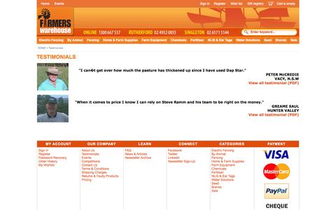Screenshot of Testimonials Page farmerswarehouse.com.au - Testimonials  - Discount Farm Equipment, Electric Fences, Tools & Supplies - captured Oct. 27, 2014