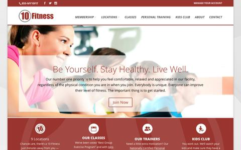 Screenshot of Home Page 10fitness.com - 10 Fitness | Be Yourself. Stay Healthy. Live Well. - captured Aug. 14, 2015