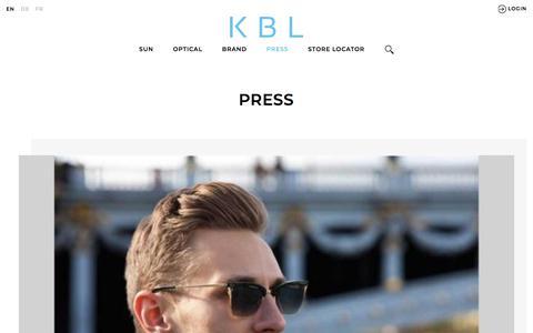 Screenshot of Press Page kbleyewear.com - PRESS | KBL International - captured Jan. 30, 2018