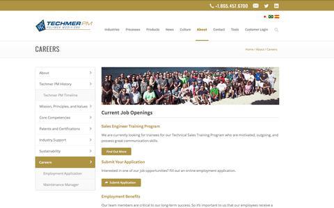 Screenshot of Jobs Page techmerpm.com - Techmer PM Plastics Industry Jobs   Techmer PM Careers - captured Sept. 21, 2018