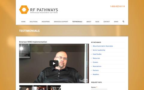 Screenshot of Testimonials Page rfpathways.com - RF Pathways  Testimonials | RF Pathways - captured Oct. 26, 2014