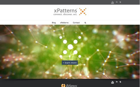 Screenshot of Home Page xpatterns.com - Atigeo's xPatterns xPatterns, Atigeos Big Data Analytics platform in the cloud - captured Jan. 26, 2015