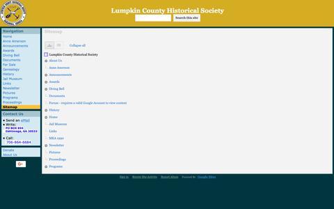 Screenshot of Site Map Page google.com - Sitemap - Lumpkin County Historical Society - captured Nov. 28, 2018