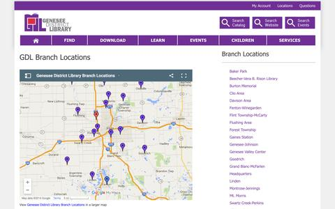 Screenshot of Locations Page thegdl.org - All Branch Locations - captured Jan. 27, 2016