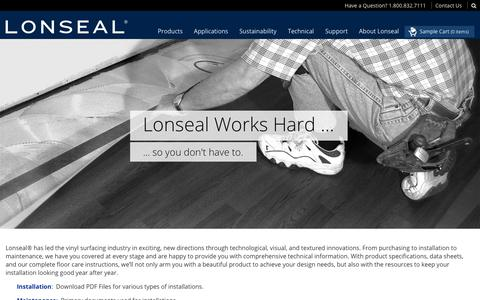 Screenshot of Support Page lonseal.com - Technical • Lonseal - captured Sept. 30, 2018