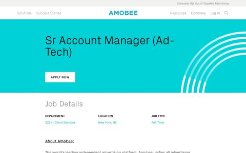 Screenshot of Jobs Page amobee.com - Sr Account Manager (Ad-Tech) — Amobee - captured Nov. 18, 2019