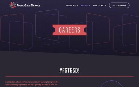 Screenshot of Jobs Page frontgatetickets.com - Front Gate Tickets - captured Oct. 11, 2018